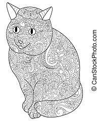kat, kleurend boek, vector, voor, volwassenen