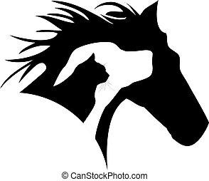 kat, logo, dog, paarde