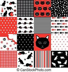 kat, mønster, sæt