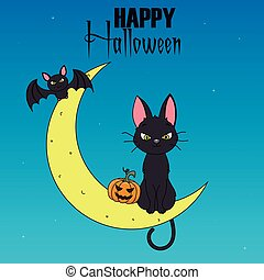 kat, maan, black , zittende