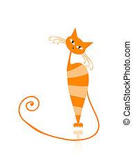 kat, ontwerp, sinaasappel, bevallig, gestreepte , jouw