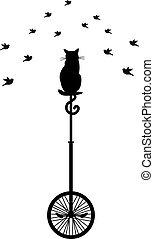 kat, op, monocycle, met, vogels