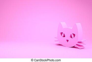 kat, roze, illustratie, pictogram, render, 3d, vrijstaand, minimalism, achtergrond., concept.