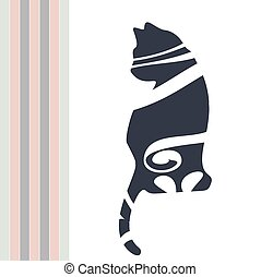 kat, sitting., abstrakt, sort, figur, cute