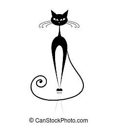 kat, sort, din, konstruktion, silhuet