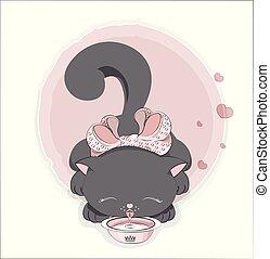 kat, sort, mælk, drinks