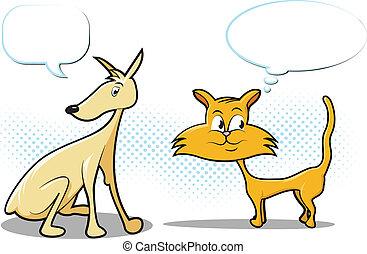 kat, spotprent, dog