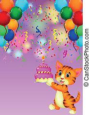 kat, spotprent, met, verjaardagstaart
