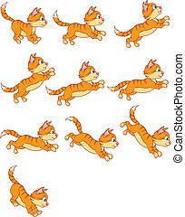 kat, springe, animation, række