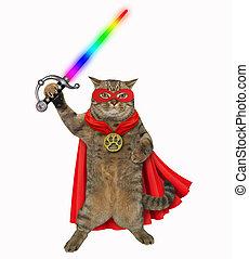 kat, super held, met, een, zwaard, 2