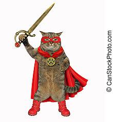 kat, super held, met, een, zwaard