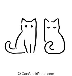 kat, tekening, minimaal