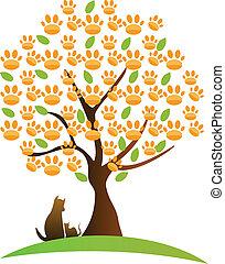 kat, træ, logo, hund