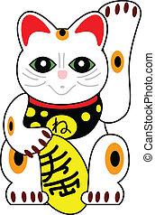 kat, vektor, japansk, dukke