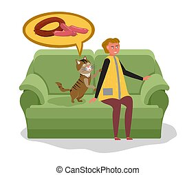 kat, vrouw, voedingsmiddelen, bedelt, honden, warme, dromen...