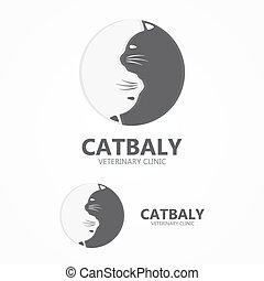 kat, winkel, logo., icon., vector, aanhalen