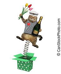 kat, zeeman, springt, buiten de doos