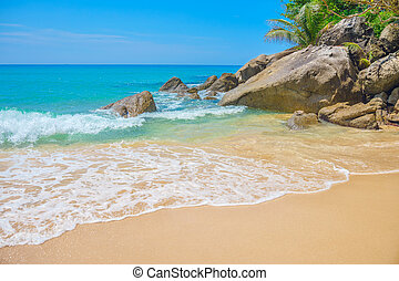 Kata Noi beach stone boulders background, Phuket, Thailand.