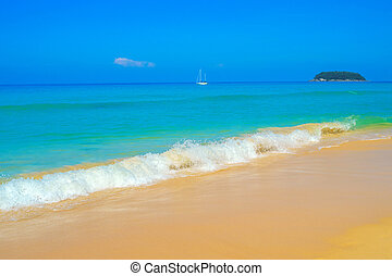 Kata Noi beach wave background, Phuket, Thailand.