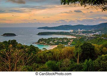 kata, phuket, vista, playa, karon, paisaje, punto