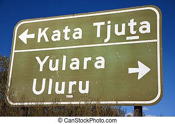 kata, señal, camino, tjuta