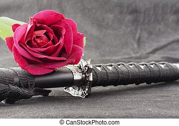 Katana and red rose