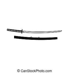 Katana icon, simple style
