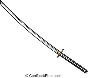 katana, -, japán, kard