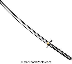 katana, -, japonaise, épée