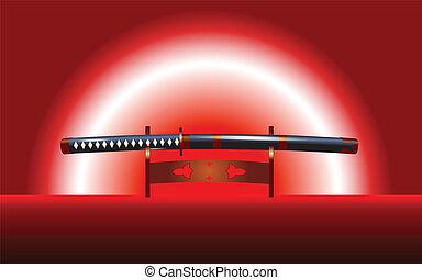 Katana sword - Famous japanese katana sword on stand