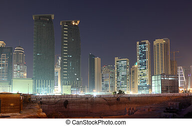 katar, doha, umiejscawiać, śródmieście, zbudowanie, noc
