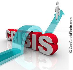 katastrof, nödläge, -, övervinna, plan, kris