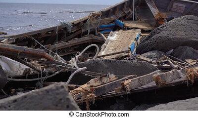 katastrofa morska, skalisty, pojęcie, burza, seaside., ...