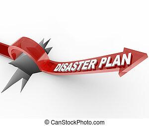 katastrofe, hen, -, springe, plan, pil, hul