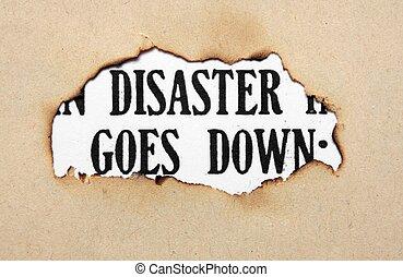katastrofe, tekst, på, avis, hul