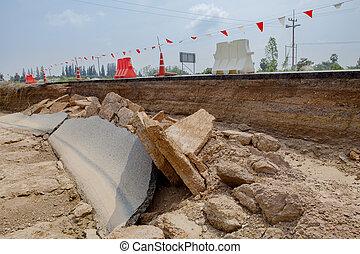 katastrophe, nach, wasser, flut, straße, thailand,...