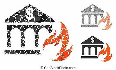 katastrophe, stücke, humpy, mosaik, ikone, bank, feuer