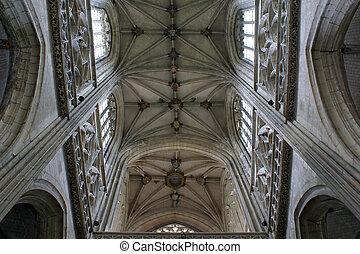 katedra, sufit, abstrakcyjny, ozdoby