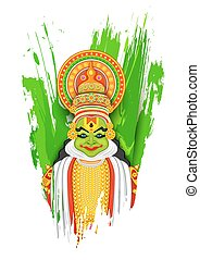 Kathakali dancer - illustration of colorful Kathakali dancer...