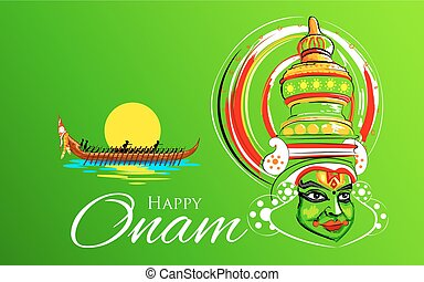 Kathakali dancer face and boat racing for Onam celebration -...