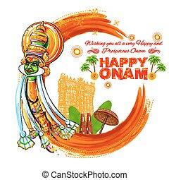 Kathakali dancer face on grungy background for Happy Onam -...