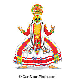 Kathakali Dancer - illustration of Kathakali dancer in...