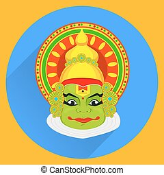 Kathakali face with heavy crown for festival of Onam...