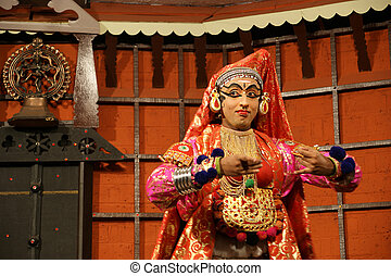 Kathakali tradional dance actor. Kochi (Cochin), India -...