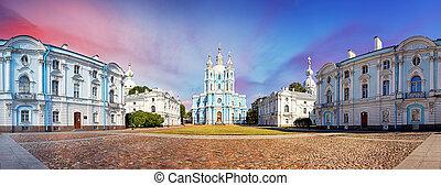 kathedraal, panorama, smolny, heilige, russia., petersburg, aanzicht, sunset.