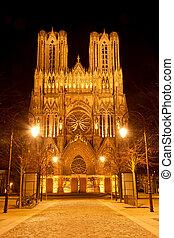 kathedraal, reims, nacht