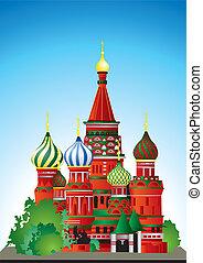 kathedraal, straat., basil's, rusland