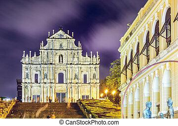 kathedraal, straat., ruïnes, paul