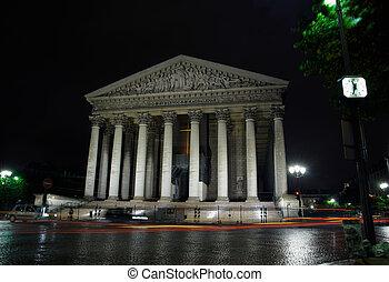 kathedrale, madeleine, per, nacht, paris, frankreich