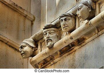 kathedrale, sibenik, köpfe